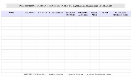 fiche inscription Tournoi simples 2020 Chalais