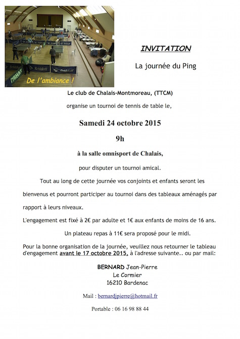 journée ping 24 10 2015 Invitation Clubs